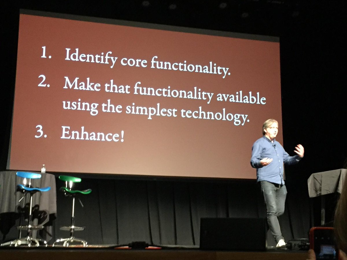 @rfdpdx:  Oh, I do like that @adactio, thinking about progressive enhancement as *process*, not tech. #rfdpdx http://t.co/0e1apA2IKo