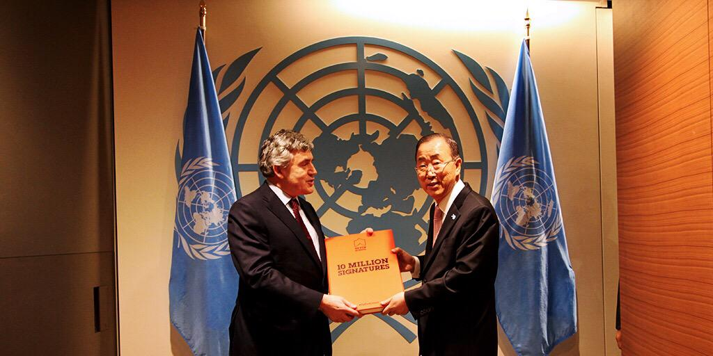10M #UpForSchool petition signatures demanding action for education delivered to @UN Secretary-General Ban Ki-moon!