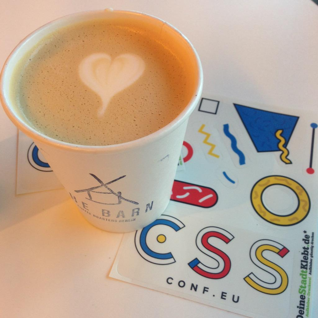 Getting ready for the #CSSconfeu. The coffee is great here http://t.co/Ppfzm9HL8X