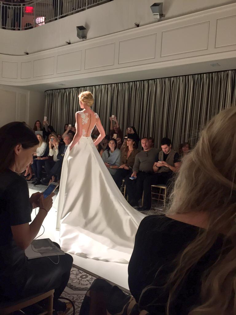 Browsing the runway for @AKRPR during @Pronovias_ES #BridalFashionWeek show #akrandrgssayido http://t.co/cWL4UupHt2
