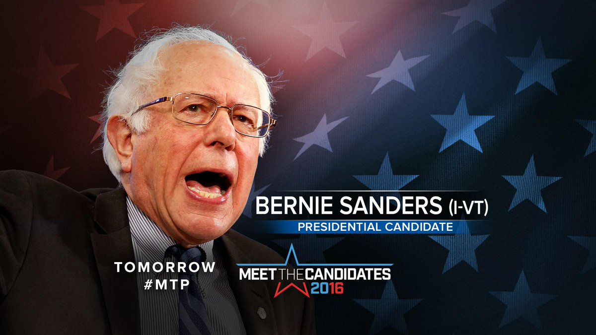 TOMORROW: @BernieSanders joins @ChuckTodd on #MTP #FeeltheBern #IfItsSunday