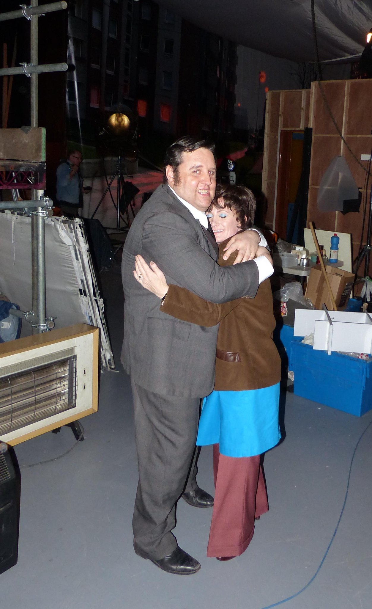 Peter with @Lucyspeed slow dancing between takes on #CradleToGrave. BBC2 at 9. A truly rocking episode. http://t.co/aUsLyWBdih