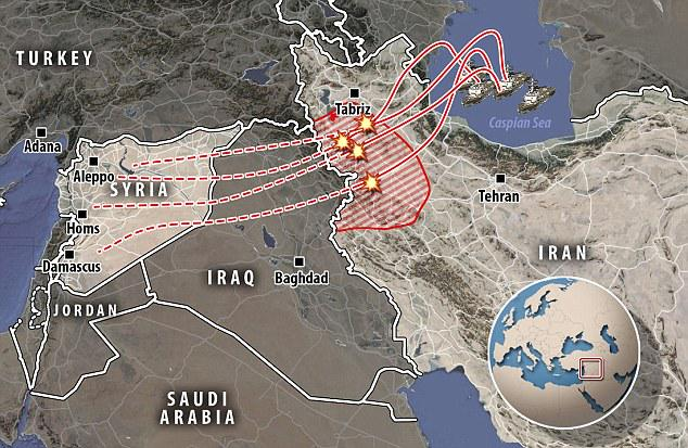 карта падения российских ракет в Иране