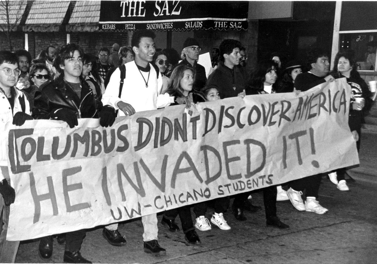 """Columbus Didn't Discover America - He Invaded It!"" October 12, 1992 #AbolishColumbusDay http://t.co/lgvw6RixkO"