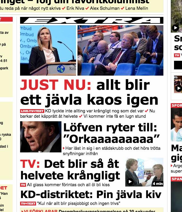 vet inte vad ni ser på nyhetssajternas förstasidor nu men så här ser de ut för mig: http://t.co/IRcN7jbxi7