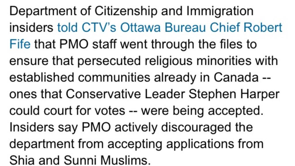 We have a PM who declines refugees b/c of their religion. #NotMyCanada #StopHarper #elxn42 http://t.co/q2txLWaATy http://t.co/Bfbvnp6cxk