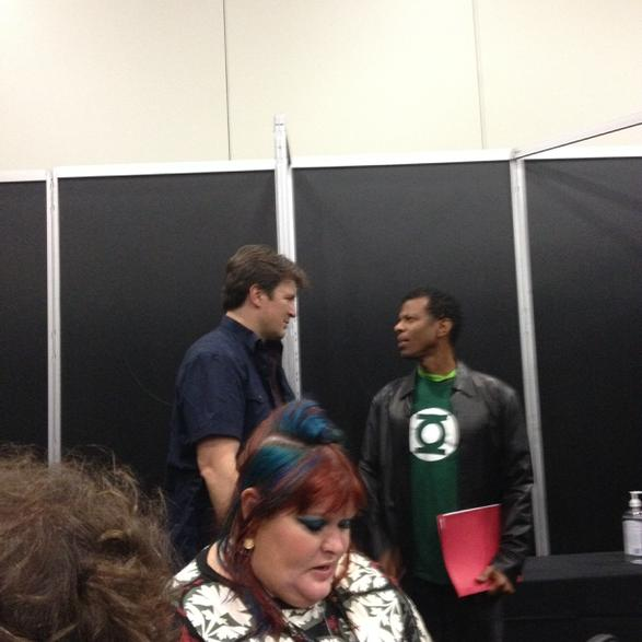 Ha! Nathan Fillion is standing right behind @cassieclare but I'm not telling her. http://t.co/wc1adSg7x2