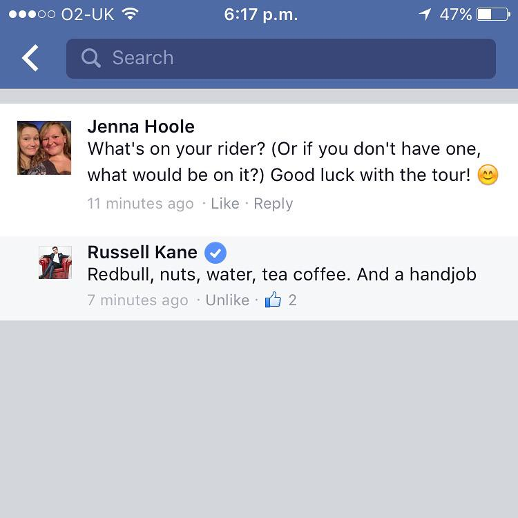 RT @JDHoole: Thanks for answering my question @russell_kane 😊 http://t.co/iuYGT1vAe3