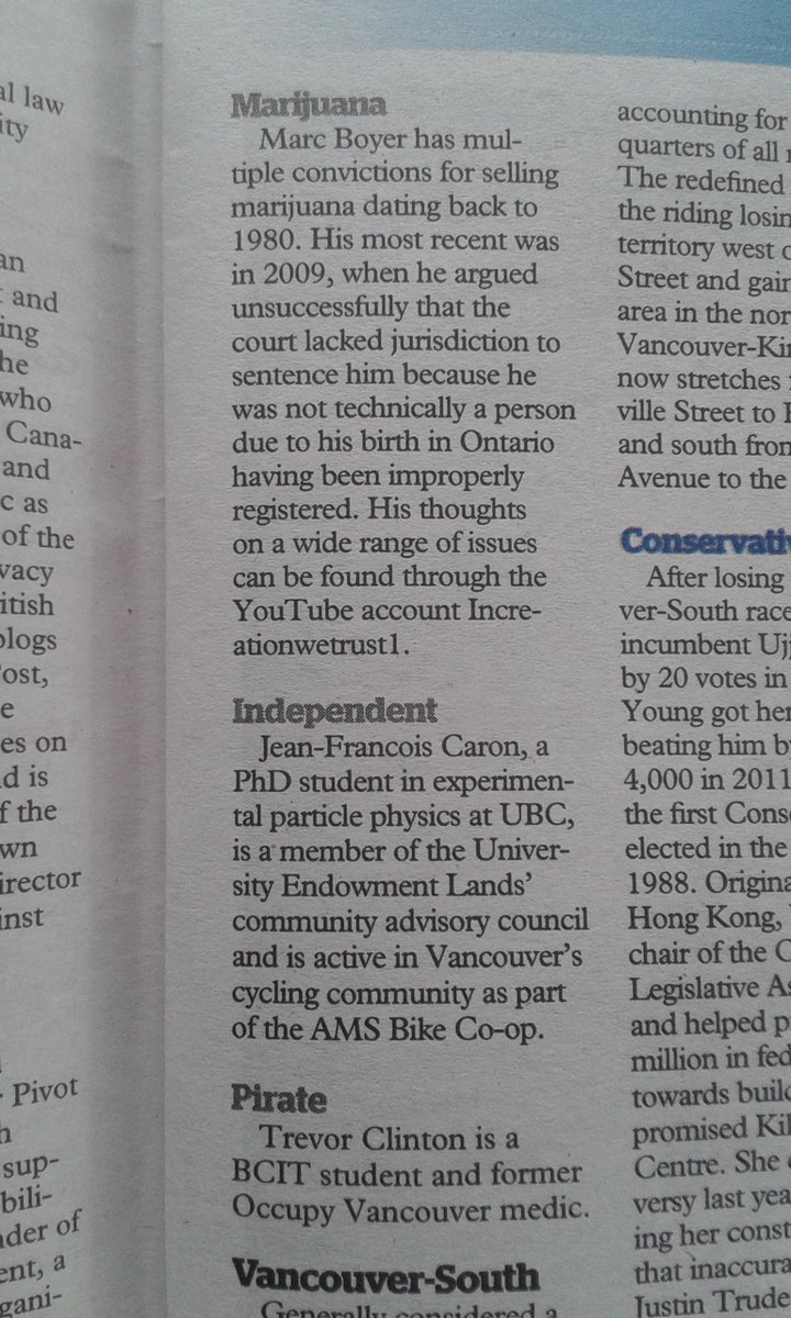 Shout out in @VanCourierNews to #VanQuadra independent candidates @jf_bikes @SkepticalSafety - but it's Trevor Walper http://t.co/THuCEJ8u38