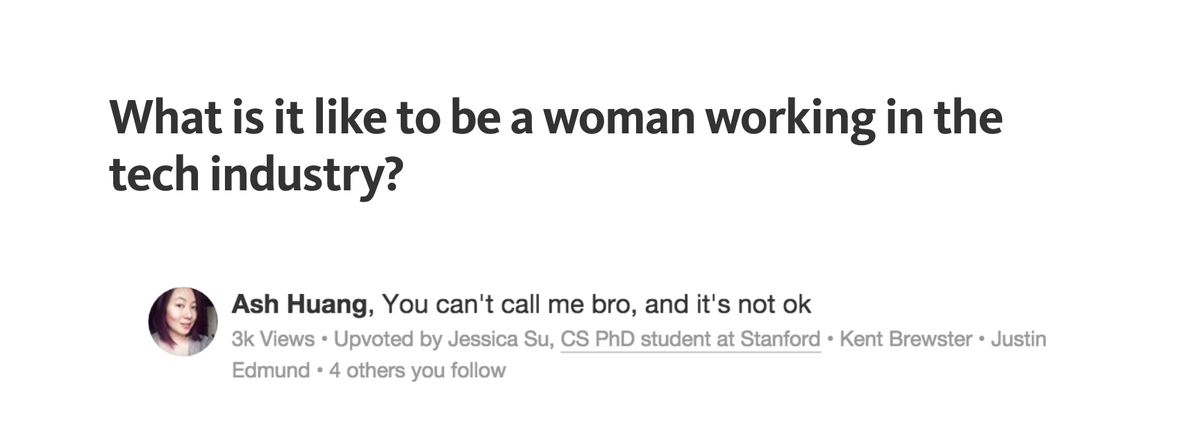 I once wrote a Quora answer about what it's like to tech as a lady. I've updated my answer. https://t.co/XafCPacYlR http://t.co/UvpKomZTud