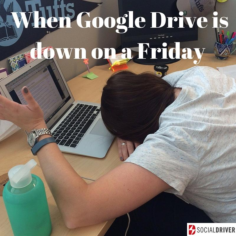 That 'can't get anything done bc #googledrive is down' feeling. #SocialMedia #SocialMediaMarketing @alisonwwilliams http://t.co/HCIx1XZxsG