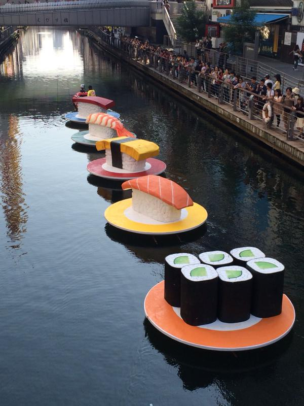 Meanwhile in Osaka: they made cute sushi boats, turning the city's canals into a giant conveyor belt sushi restaurant http://t.co/DqiGQbiNDx