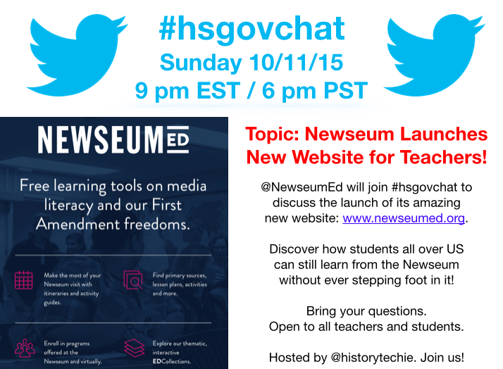 Thumbnail for #hsgovchat (10/11/15): Newseum Launches New Website for Teachers