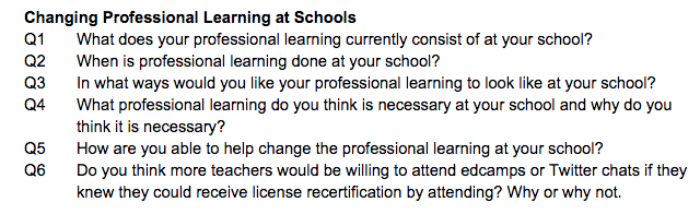"Here are questions for discussion on ""Changing Professional Learning in Schools"" today at 8:00 CT. #CatholicEdChat http://t.co/KYafFrT9xS"