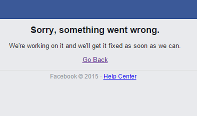 Here we go again - RT if you're seeing this error message on facebook. #facebook #facebookdown