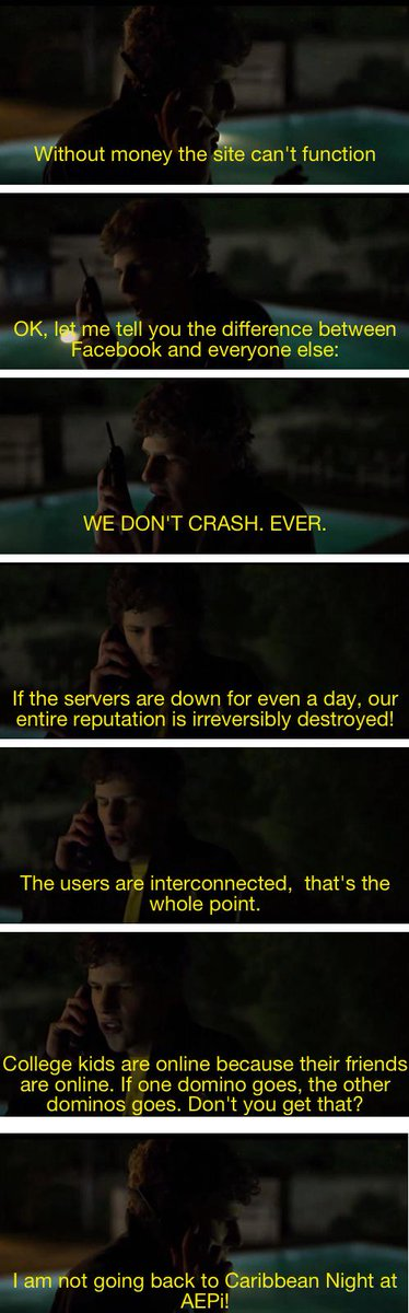 One of my favorite scenes from Social Network. #facebookdown http://t.co/i11alvXp9X