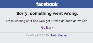 """Sorry, something went wrong."" Facebook is down again, the second time in a week: http://t.co/zWAABzSltm http://t.co/L7uHKvS9Wz"