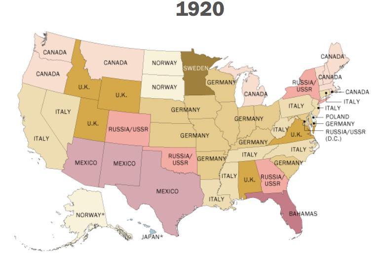 jos daz briseo on twitter top foreign born population per state 1920195019802010 via pewresearch httptcoctpx4ehj6l