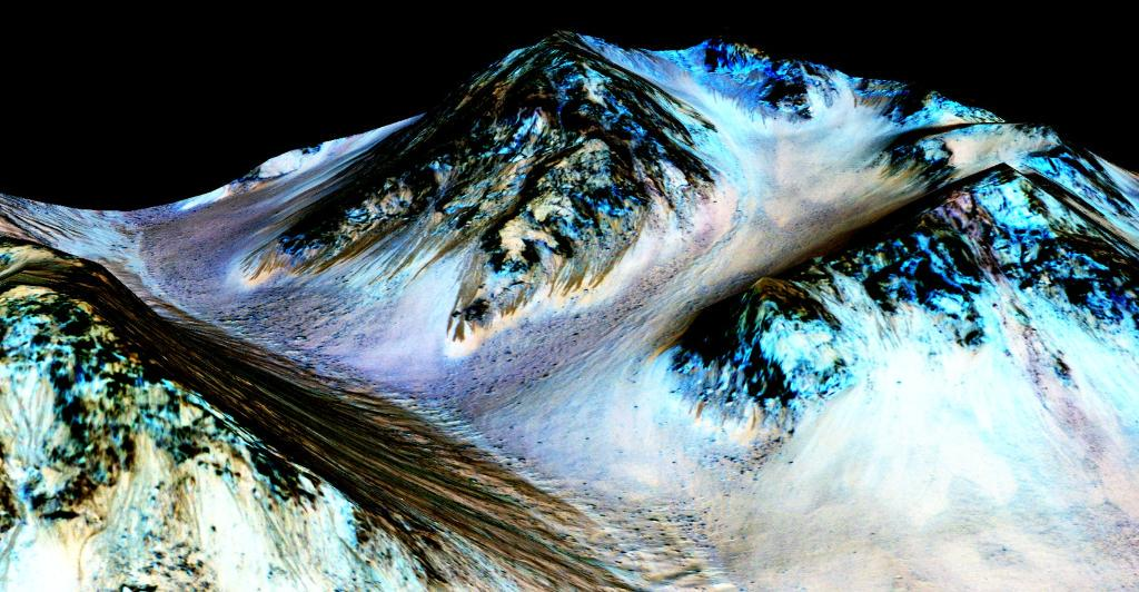 Water! Strong evidence that liquid water flows on present-day Mars. Details: http://t.co/0MW11SANwL #MarsAnnouncement