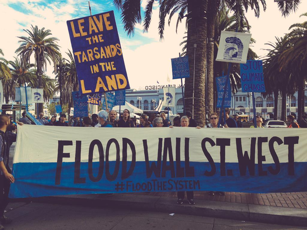 Flood Wall Street West begins tour of shame of climate profiteers in SF! #FloodtheSystem #FWSW http://t.co/PtZd8PUCbu