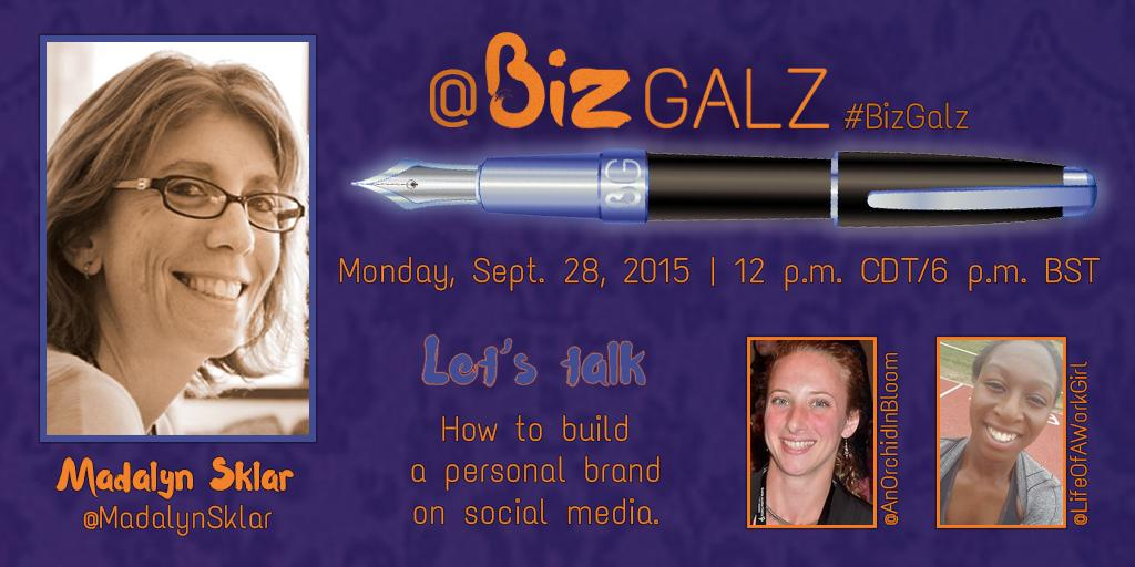 Join me now! I'm the guest on today's #BizGalz Twitter chat. The topic: How To Build a Personal Brand on Social Media http://t.co/AsYExHPSBV