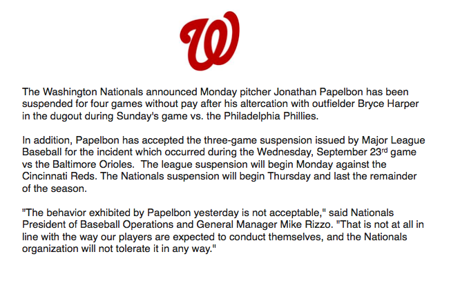 The Washington Nationals have suspended RHP Jonathan Papelbon: http://t.co/KYKHvllsaw