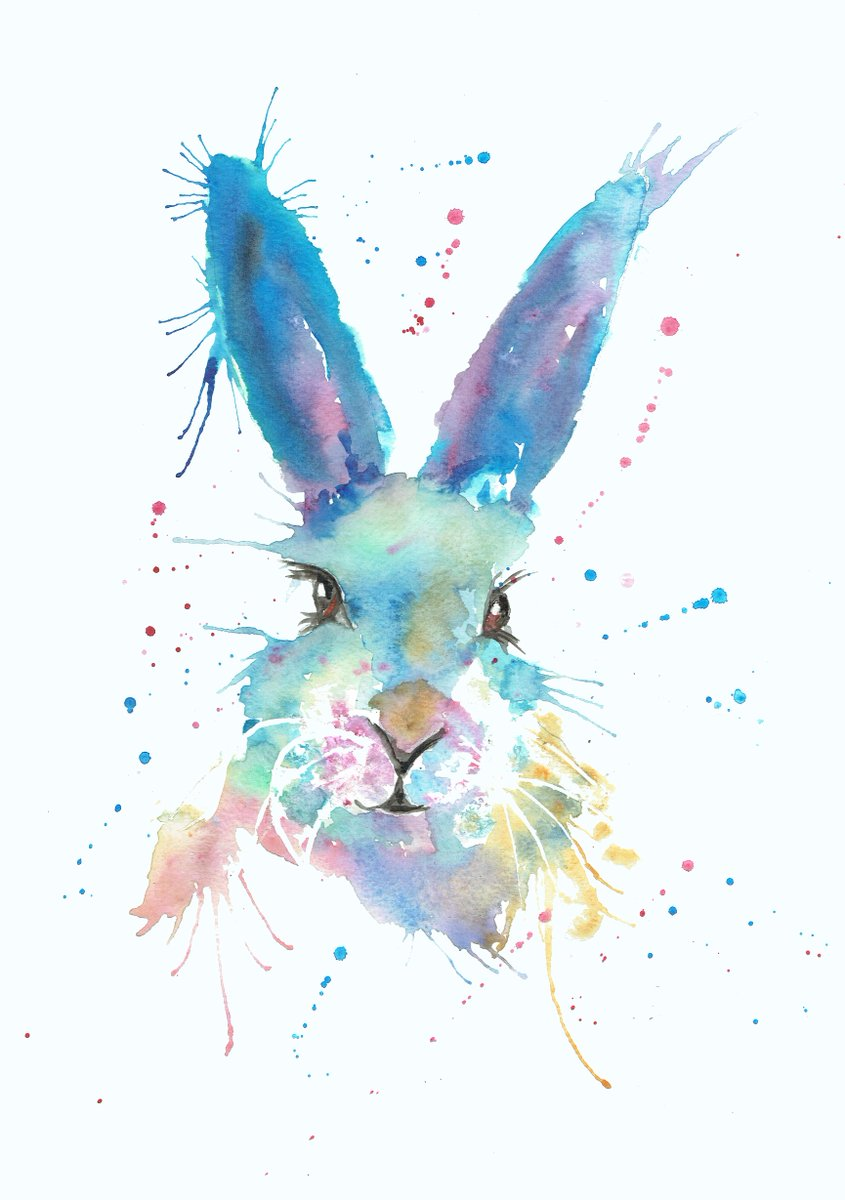 Rabbit Painting Bright Colours
