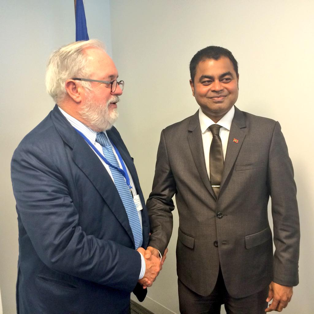 With @Thoriqibrahim on the day when Maldives tabled its #INDC. EU and @AOSISChair will keep ambition up in #COP21. http://t.co/f3FydISele