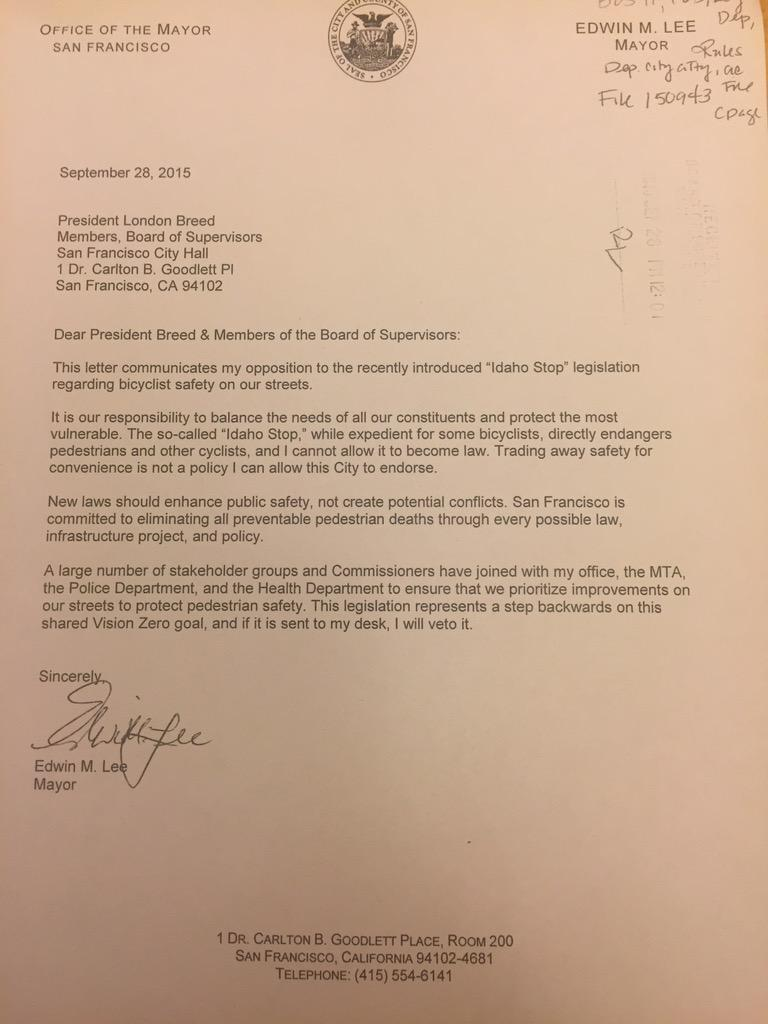 "Profiles in discouragement: @mayoredlee veto letter to the BoS doesn't even mention the word ""yield"". http://t.co/5otBdrjprb"