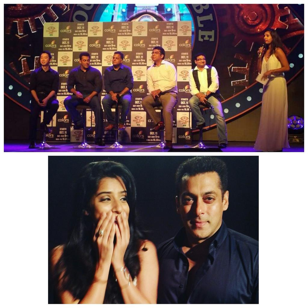 Met my hero @BeingSalmanKhan yest!! Oh and I also happened to host the #bb9 press launch:p Mom, I think I'm in love! http://t.co/l8QWQl4Bdm