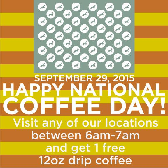 Make sure to stop by any of our locations tomorrow morning 6-7am for a free 12oz drip coffee #NationalCoffeeDay http://t.co/2vpknkJqDJ