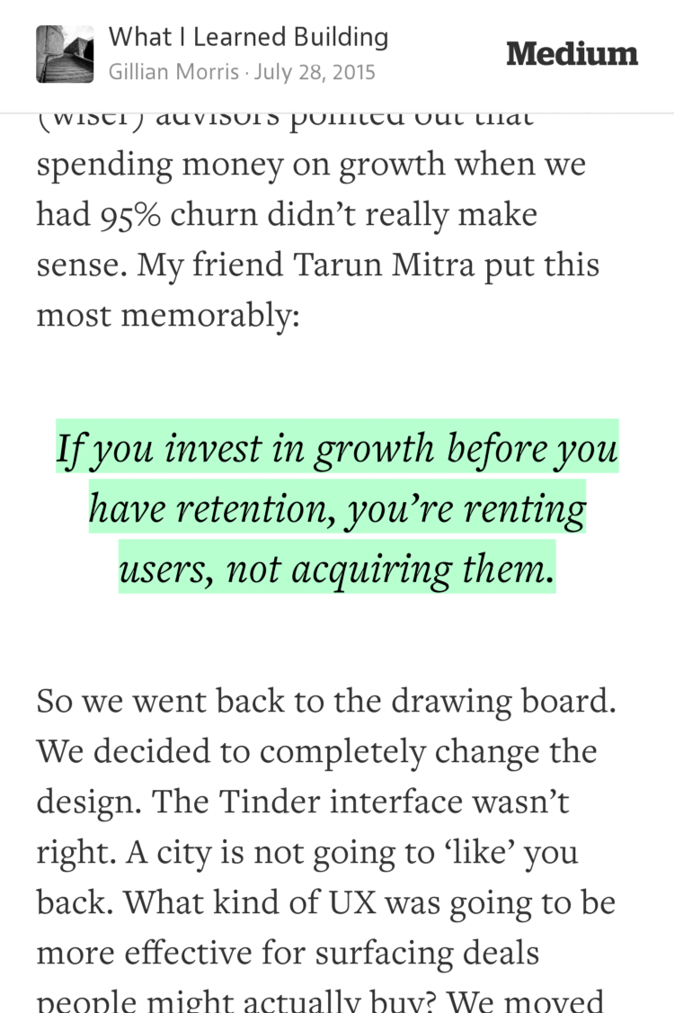 """""""If you invest in growth before retention, you're renting users, not acquiring""""—@gillianim https://t.co/Jak9KjSlVK http://t.co/S2u3BfGLsb"""