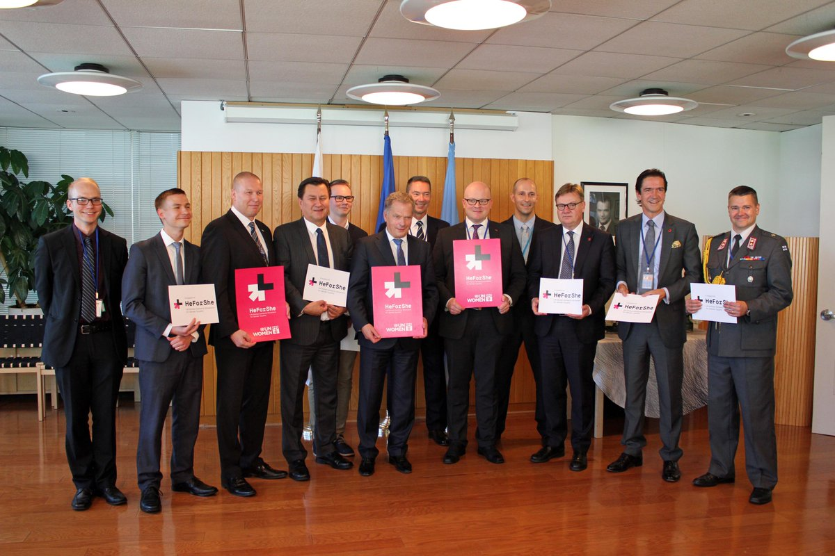 President Niinistö, Amb. Sauer & men from Mission, Consulate & President's office support gender equality. #HeForShe