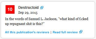 Haha, the quote Metacritic pulled for that new Afro Samurai game. http://t.co/lhVtacamYY