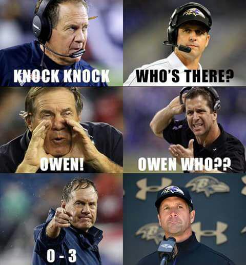 Belichick loves a Knock Knock joke at John Harbaugh's expense. #Patriots #Ravens http://t.co/imJ3iDmSZF