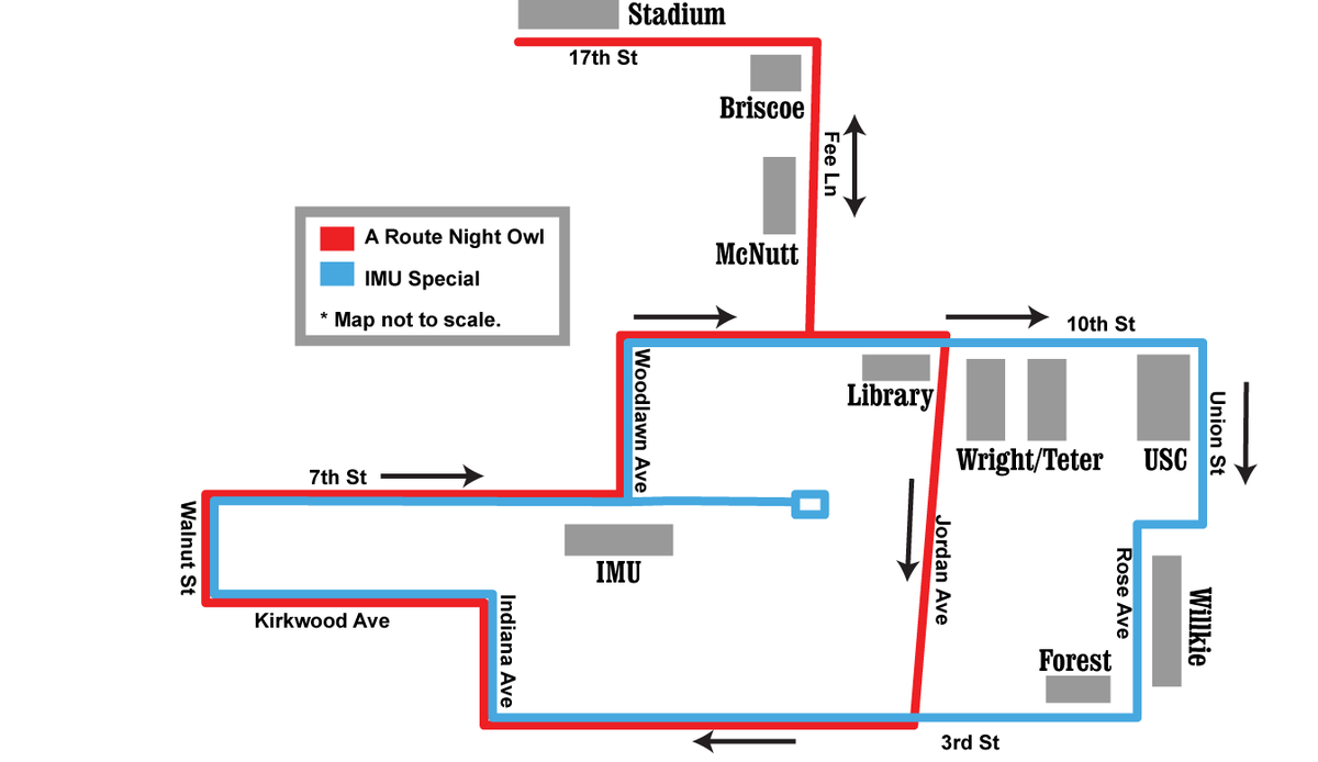 Iu Campus Bus On Twitter Idsnews Here Is A Corrected Version Of The Night Owl Route Map Note That The Imu Special Only Operates On Fridays