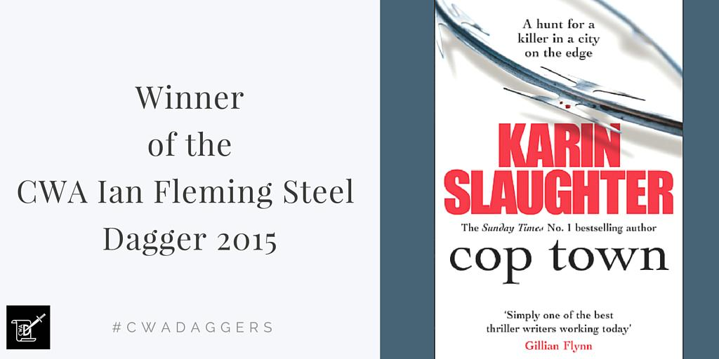The winner of the CWA Ian Fleming Steel Dagger is @slaughterkarin Congratulations! #cwadaggers http://t.co/gkHYIOePa6