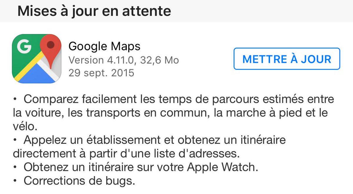 Google Maps se met à jour et arrive sur l'Apple Watch cc @MacGeneration @Mac4ever @MacPlus http://t.co/pjFeAkU4pX