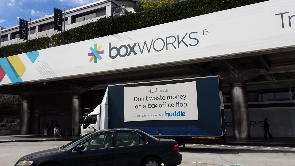 """Experienced a """"box"""" office flop? Stop by @huddle for a free trial  https://t.co/fQIIpSaU4b @BoxWorks #BoxWorks http://t.co/CAs7TtLeOL"""