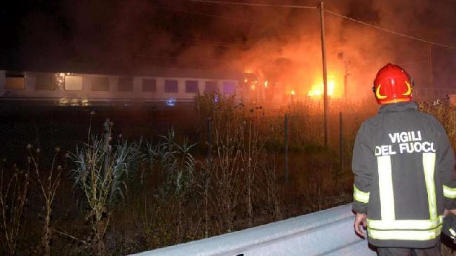 Fiamme sul Treno Intercity Roma-Perugia.