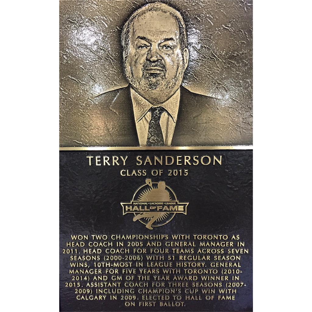 Legendary coach & general manager Terry Sanderson inducted as the 24th Member of the #NLL Hall of Fame. #NLLHOF #T