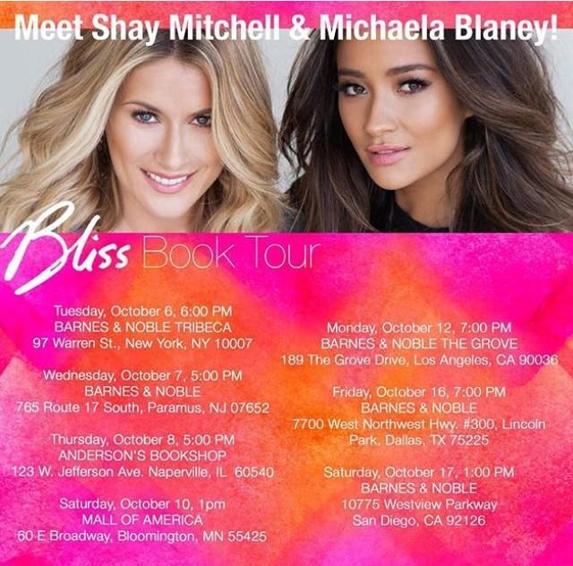 Check out @shaymitch & @MichaelaLBlaney #BlissBookTour in Oct @BNBuzz @BNEvents_Grove @mallofamerica @AndersonsBkshp http://t.co/HcazxvcJnL