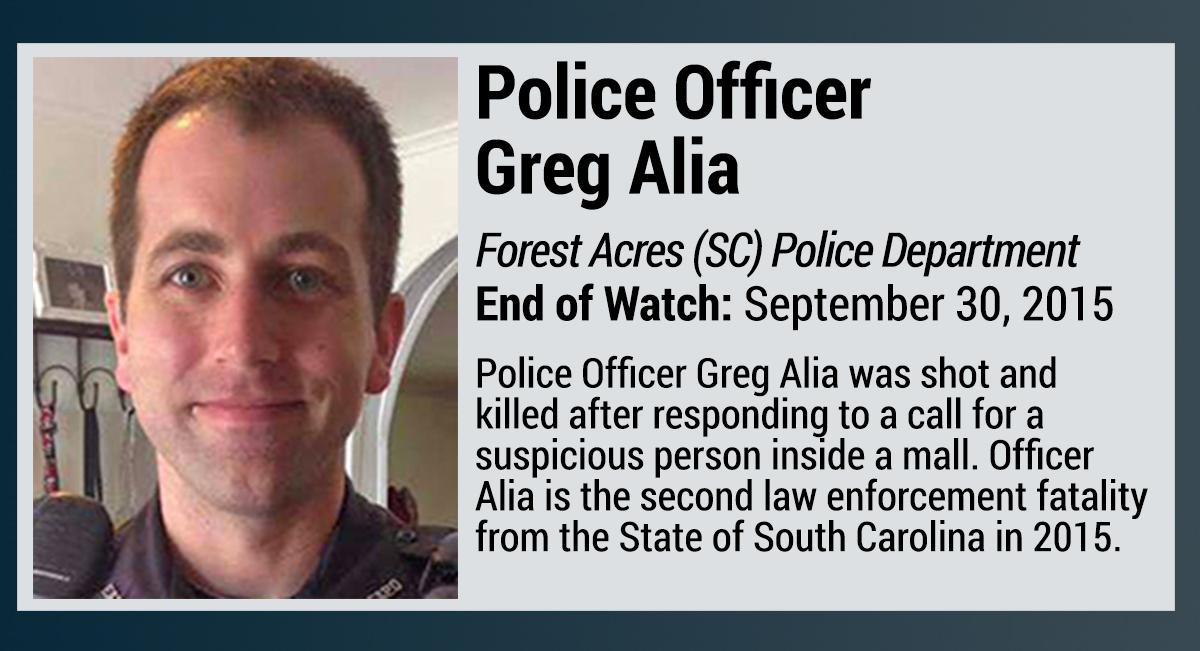 Officer Gregory Alia killed by #blacklivesmatter South Carolina