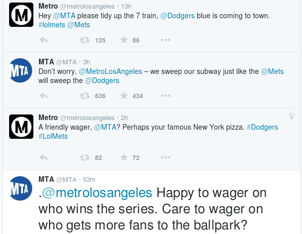 Hilarious online trash talk between @metrolosangeles and NYC @MTA http://t.co/uHj0CzXGEd