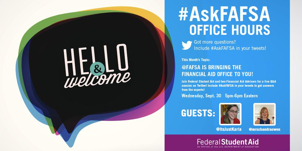 Thumbnail for September 2015 #AskFAFSA Office Hours: @FAFSA is Bringing the Financial Aid Office to You!