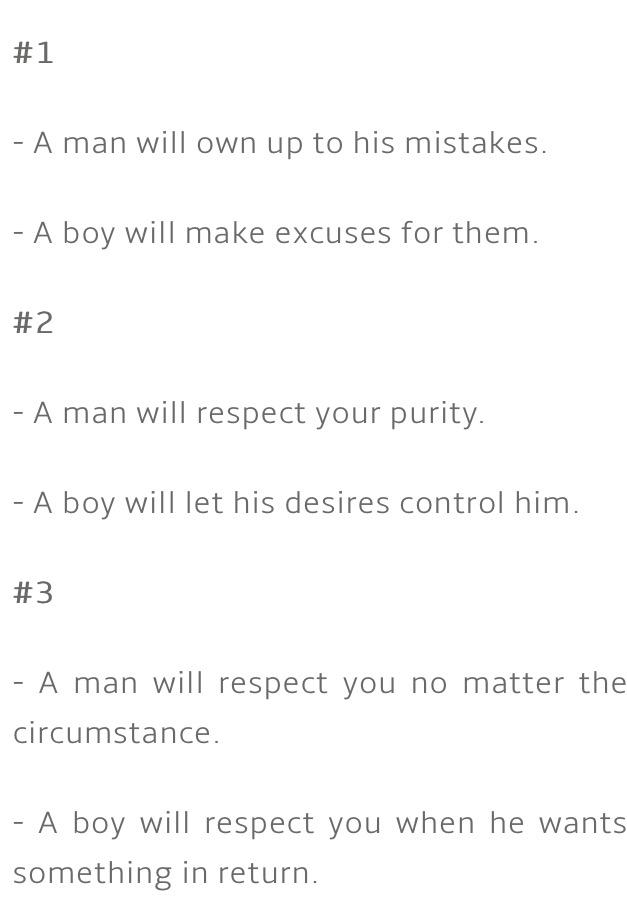 Differences between dating a boy versus a man