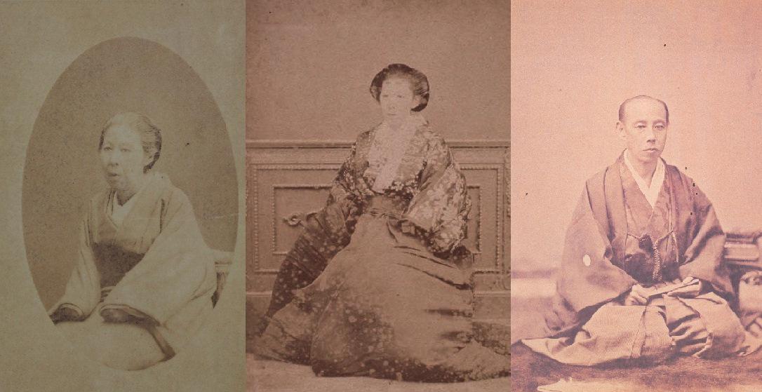 「大名華族たちの明治」展は旧柳川藩主立花家、旧佐賀藩主鍋島家の資料を中心に展示します。松平春嶽の姉純姫が立花鑑寛に、妹筆姫が鍋島直正に嫁いでおり、そのご縁をもとに実現しました。写真は左が純姫、中が筆姫、右が春嶽。似てます?