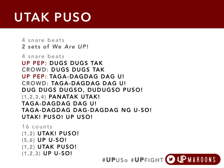2 DAYS LEFT! Here's our cheer for Saturday! UTAK PUSO! RT! RT! RT! #KnowYourUPCheers #UAAPCDC #UPUSo #UPFIGHT http://t.co/BsbnDYBTr2