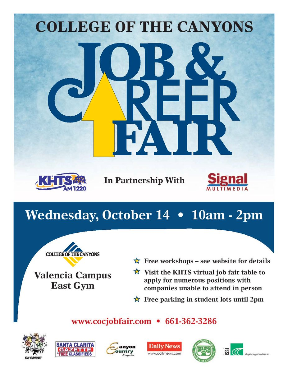 If you're looking for work, join us at the Job & Career Fair at College of the Canyons Oct.14 #careers #jobs #work