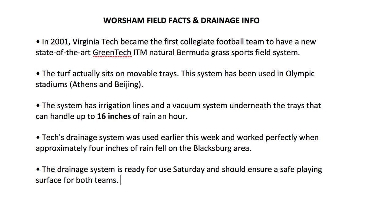 Virginia Tech Football On Twitter Worsham Field Wet